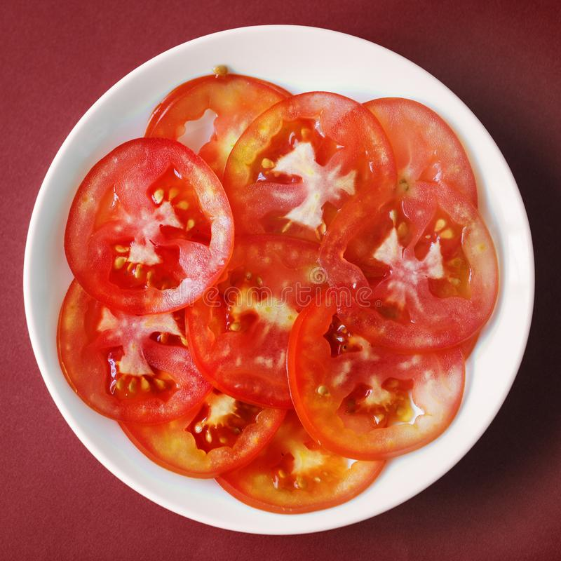 Top View Photography Of Sliced Tomatoes royalty free stock photo