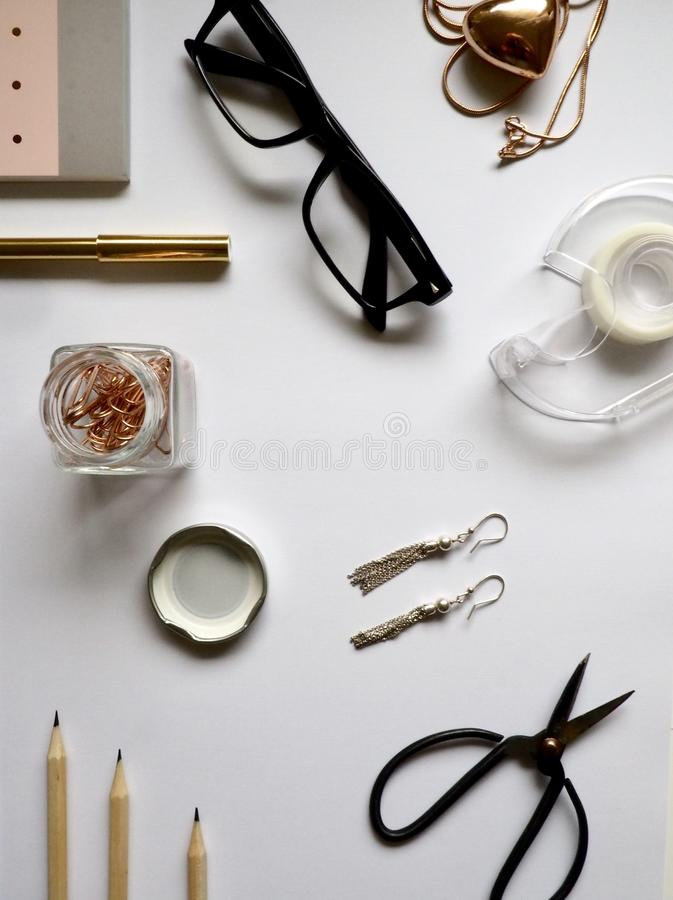 Top-view Photography Of White Wooden Table With Personal Accessories On Top Free Public Domain Cc0 Image