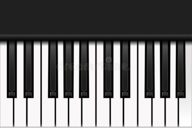 Top view of piano keyboard in realistic style. Two octaves. Vector illustration. Top view of piano keyboard in realistic style. Two octaves. Vector illustration royalty free illustration