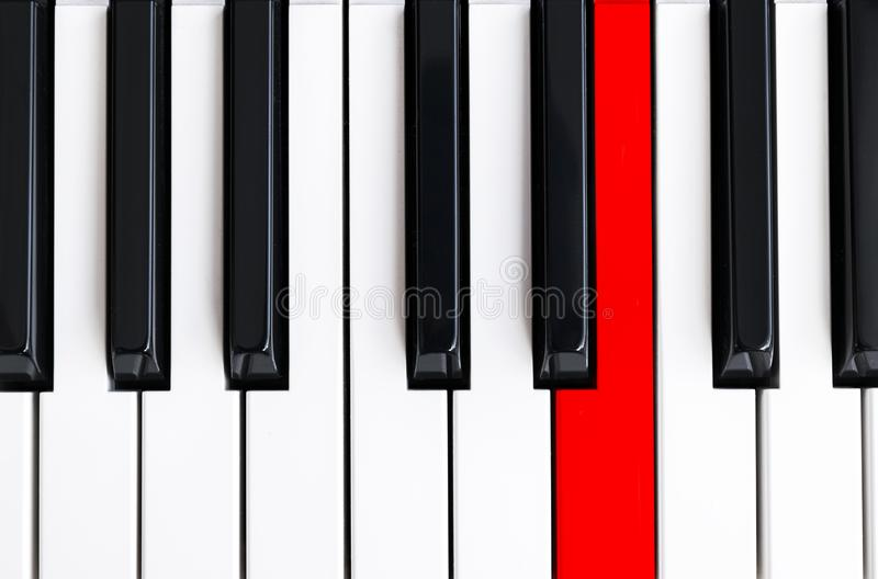 Top view of piano keys. Close-up of piano keys. Close frontal view. Piano keyboard with selective focus. Top view. Piano keyboard. Perspective with red button vector illustration