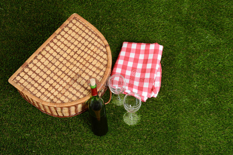 Top view picnic basket with wine stock images