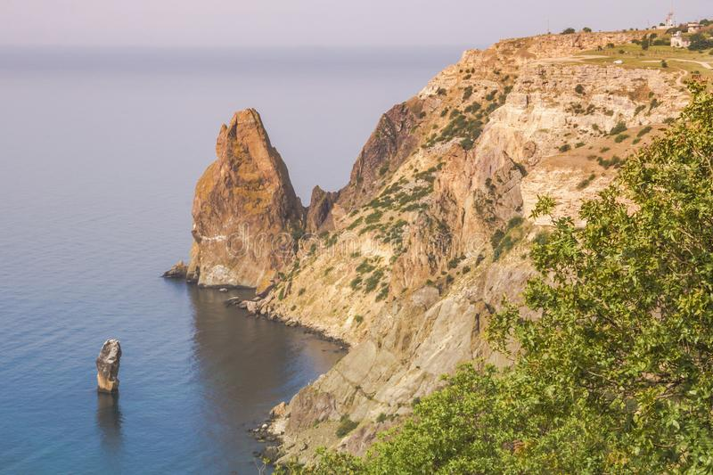 Top view of the picturesque Bay and Cape Fiolent with verdant greening slopes. Crimea stock image