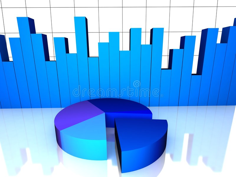 Top view of pie chart with bar graph royalty free illustration