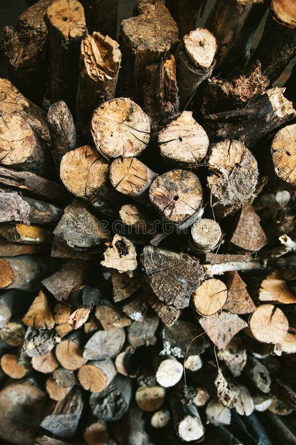 Top view of Pile of dried and burnt wood fire logs for fire camp in the Akha village of Maejantai on the hill in Chiang Mai. royalty free stock images