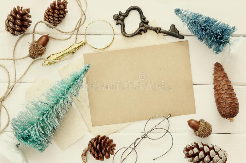 Top view of pine cones, christmas tree and vintage objects stock photo