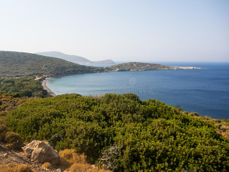 The top view of Plaka beach, Tilos island stock photo