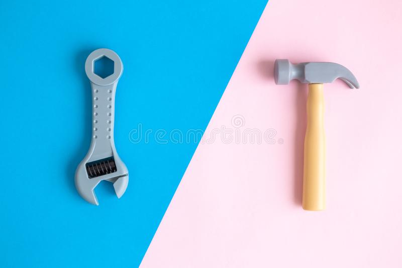 Top view of plastic hand tools abstract royalty free stock images