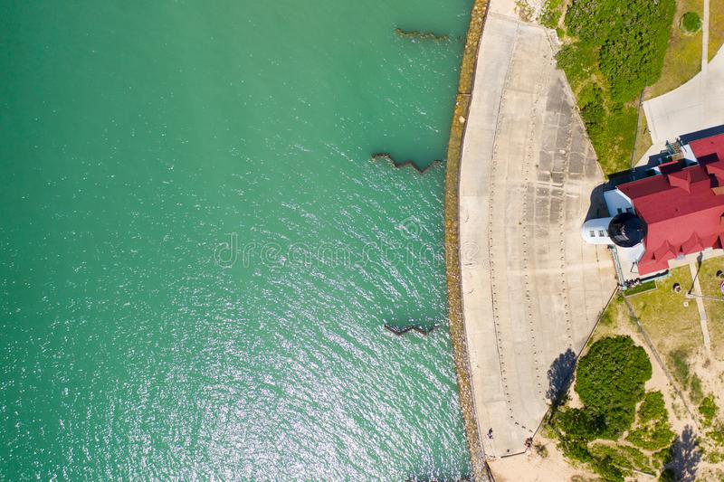 Top View of Point Betsie Light. This is from my trip to Michigan. This is a top view of one of my favorite lighthouses! Point Betsie is a beautiful lighthouse royalty free stock images