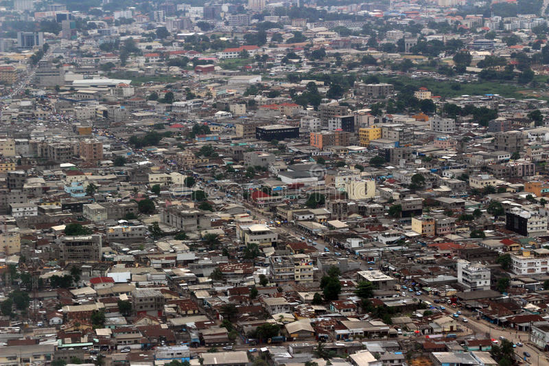 Top view of Pointe-Noire Congo. Top view of poor districts of the city of Pointe-Noire, Rep. Congo, february 2015 stock photo