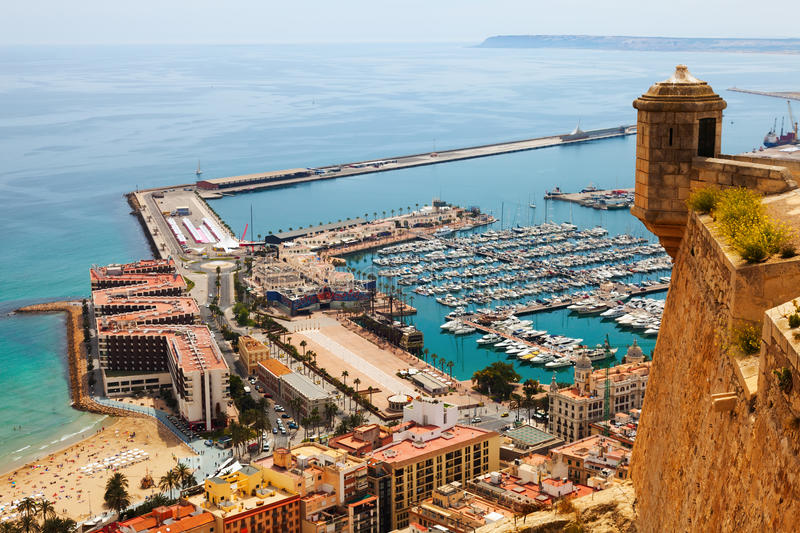 Top view of Port in Alicante with docked ships royalty free stock photo