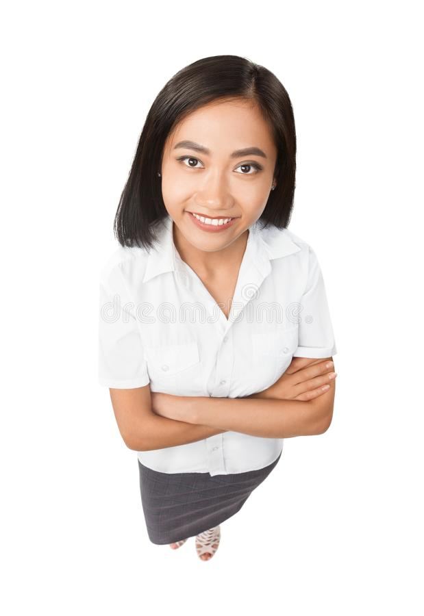 Top view full length portrait of smiling Asian woman isolated stock photography