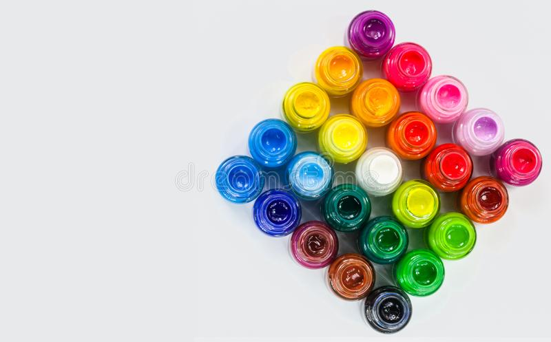 top view of Poster colors in square on white background royalty free stock image