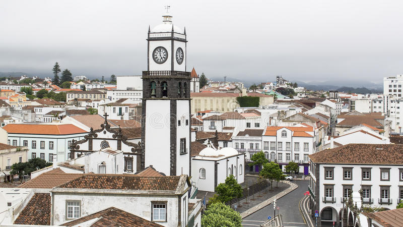 Top view of Praca da Republica in Ponta Delgada, Azores. Portugal stock photos