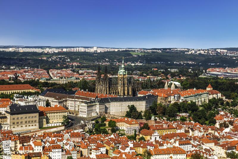 Top view of Prague castle and St. Vitus Cathedral. Prague,. Czech Republic royalty free stock photography