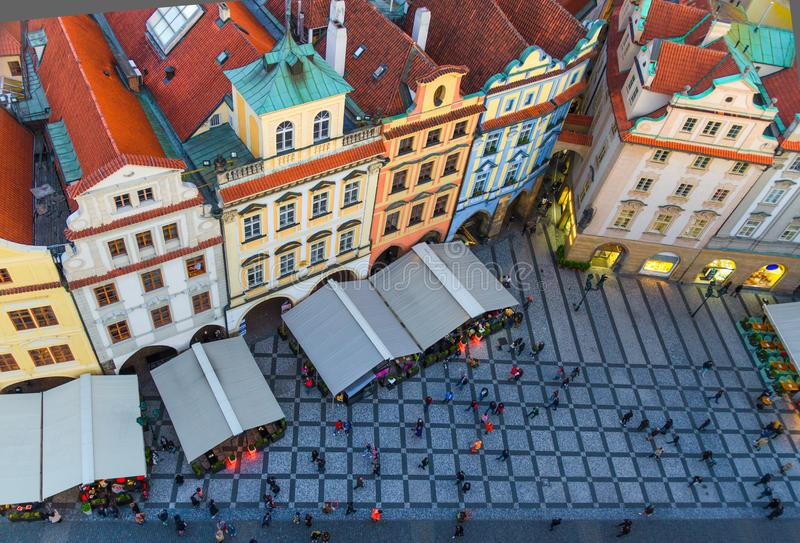 Top view of Prague Old Town Stare Mesto historical city centre. Row of buildings with colorful facades and red tiled roofs royalty free stock images