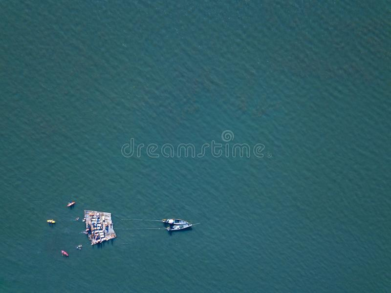 Top View of raft. And boats in the sea stock photos