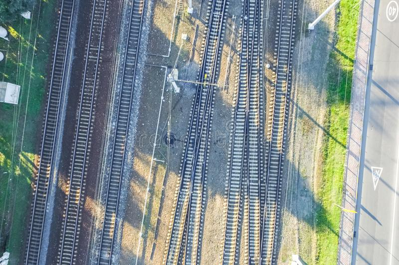 Top of the railway. Railway rails and sleepers. Top view of the railway. Railway rails and sleepers royalty free stock photo