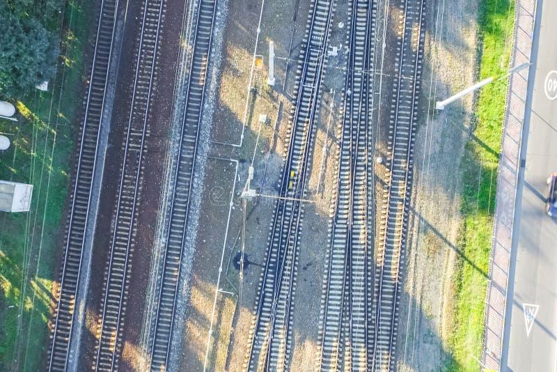 Top of the railway. Railway rails and sleepers. Top view of the railway. Railway rails and sleepers stock photography