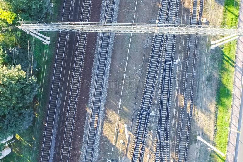 Top of the railway. Railway rails and sleepers. Top view of the railway. Railway rails and sleepers royalty free stock photos