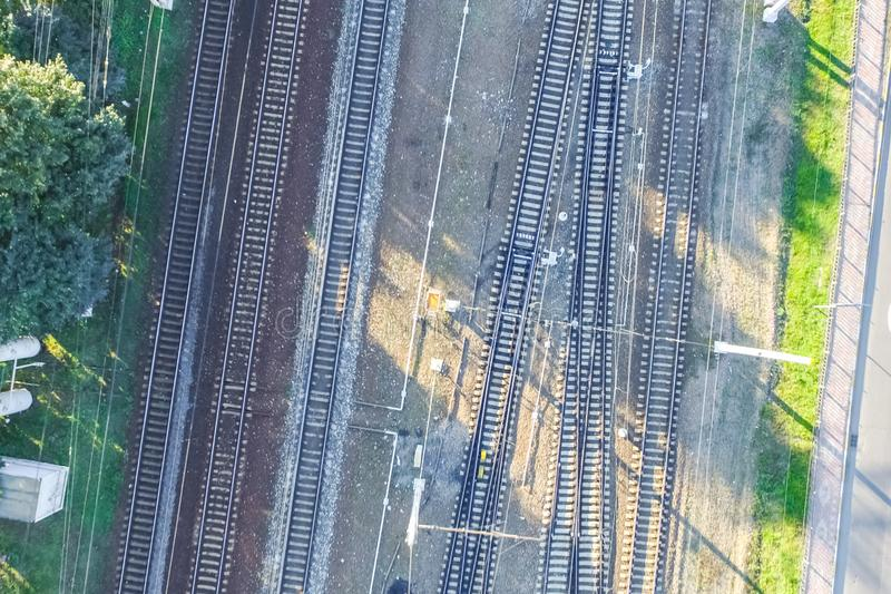 Top of the railway. Railway rails and sleepers. Top view of the railway. Railway rails and sleepers stock photo