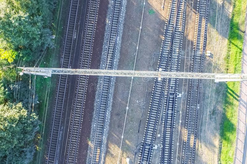 Top of the railway. Railway rails and sleepers. Top view of the railway. Railway rails and sleepers royalty free stock photography