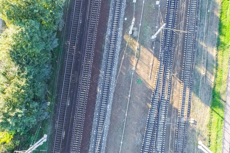 Top of the railway. Railway rails and sleepers. Top view of the railway. Railway rails and sleepers stock images
