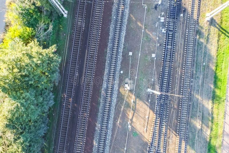 Top of the railway. Railway rails and sleepers. Top view of the railway. Railway rails and sleepers stock photos