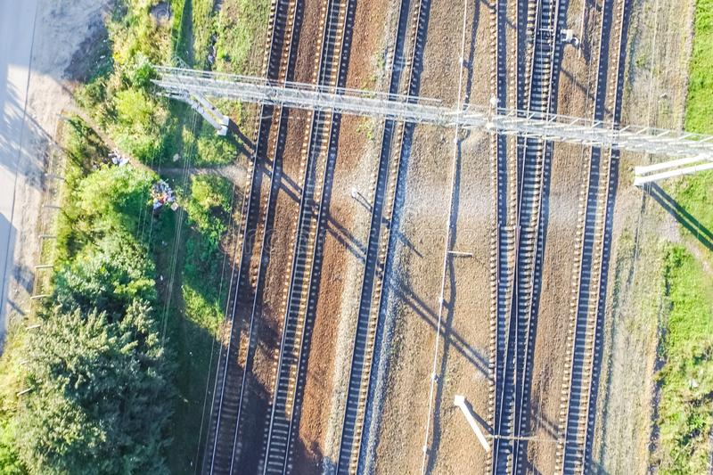 Top of the railway. Railway rails and sleepers. Top view of the railway. Railway rails and sleepers royalty free stock images