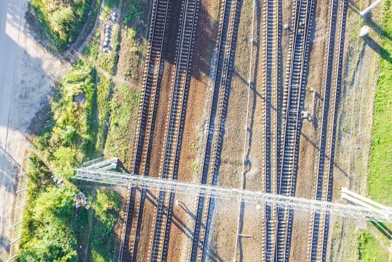Top of the railway. Railway rails and sleepers. Top view of the railway. Railway rails and sleepers stock image