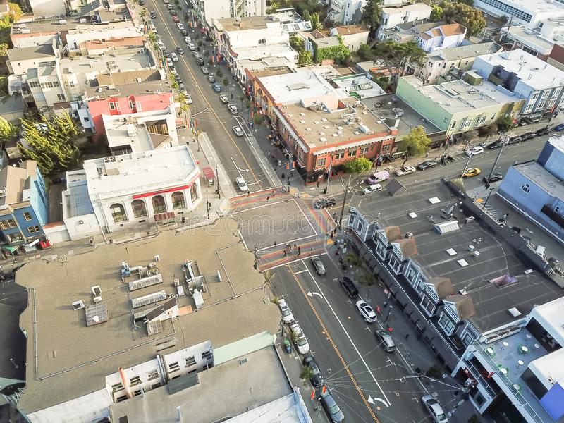 Top view Rainbow crosswalk in Castro District, San Francisco royalty free stock images