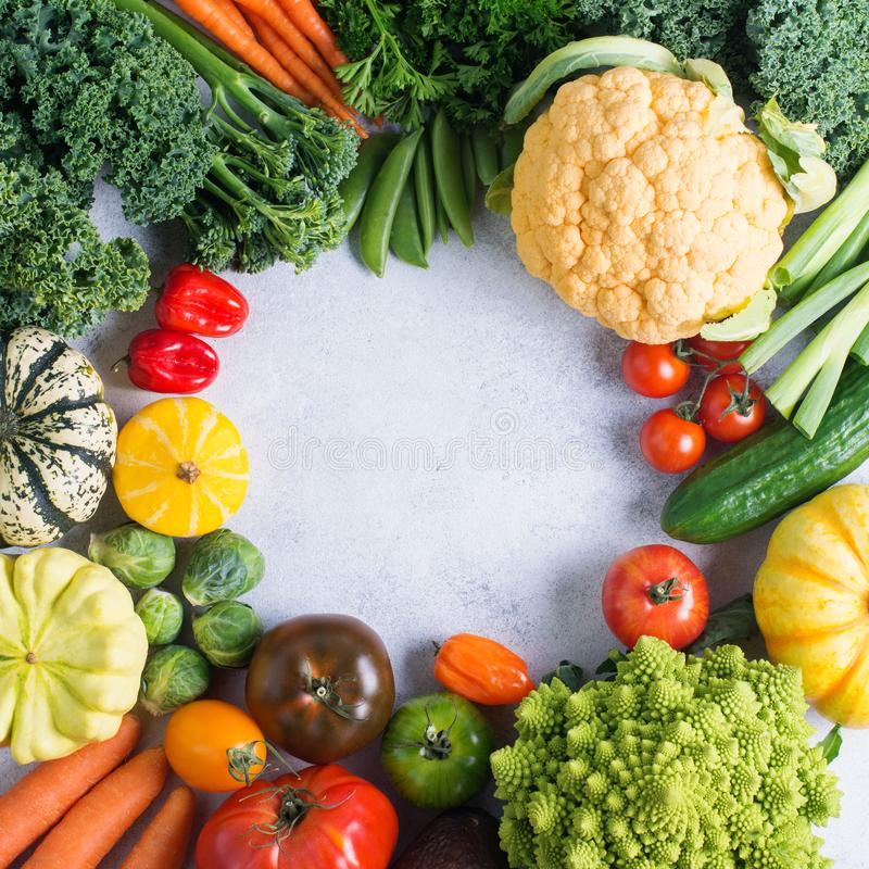 Top view of rainbow vegetables, autumn harvest stock image