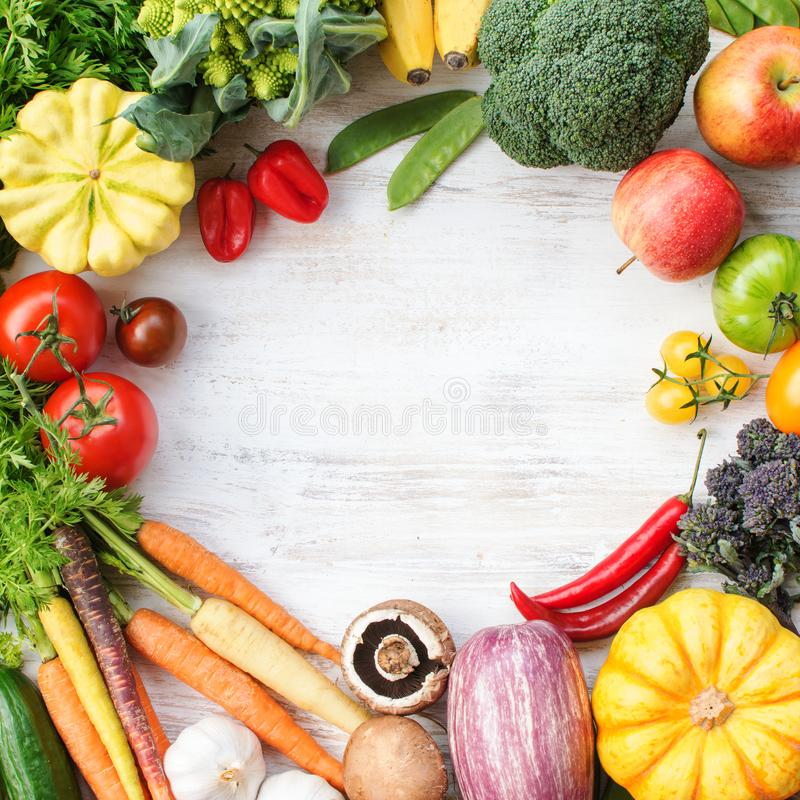 Top view of rainbow vegetables, fruits, copy space stock photos