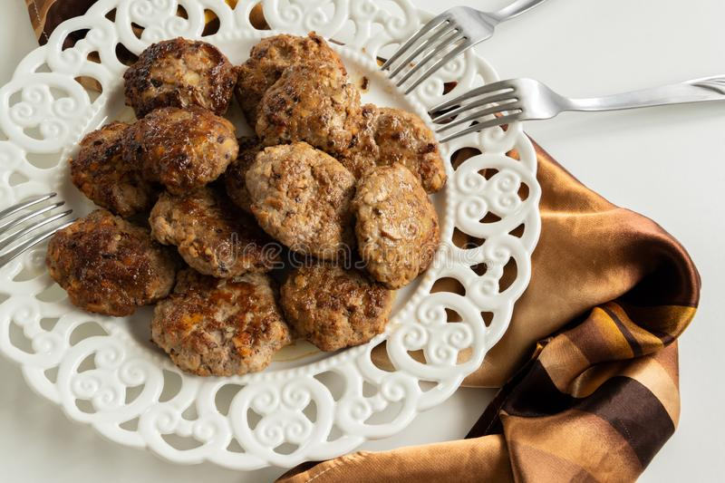 Top view of ready to eat meatballs with porcini mushrooms  stock photo