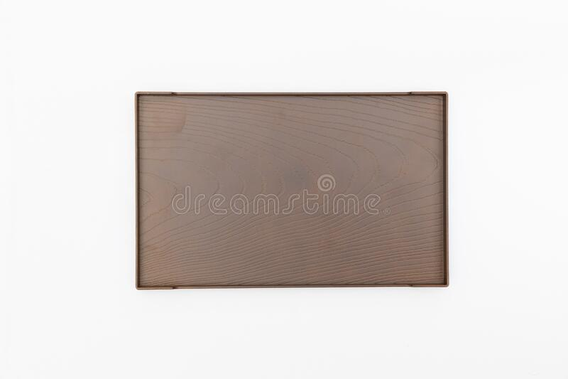 Top view of rectangle wooden tray japan style for place food and drinks on white background royalty free stock photos