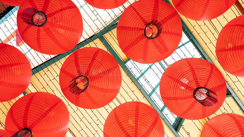The top view of the red lantern hanging on the chinese royalty free stock photos