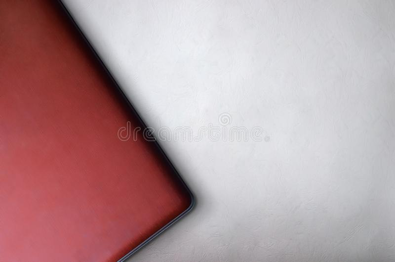 Top view of red laptop best background for presentation template stock photography