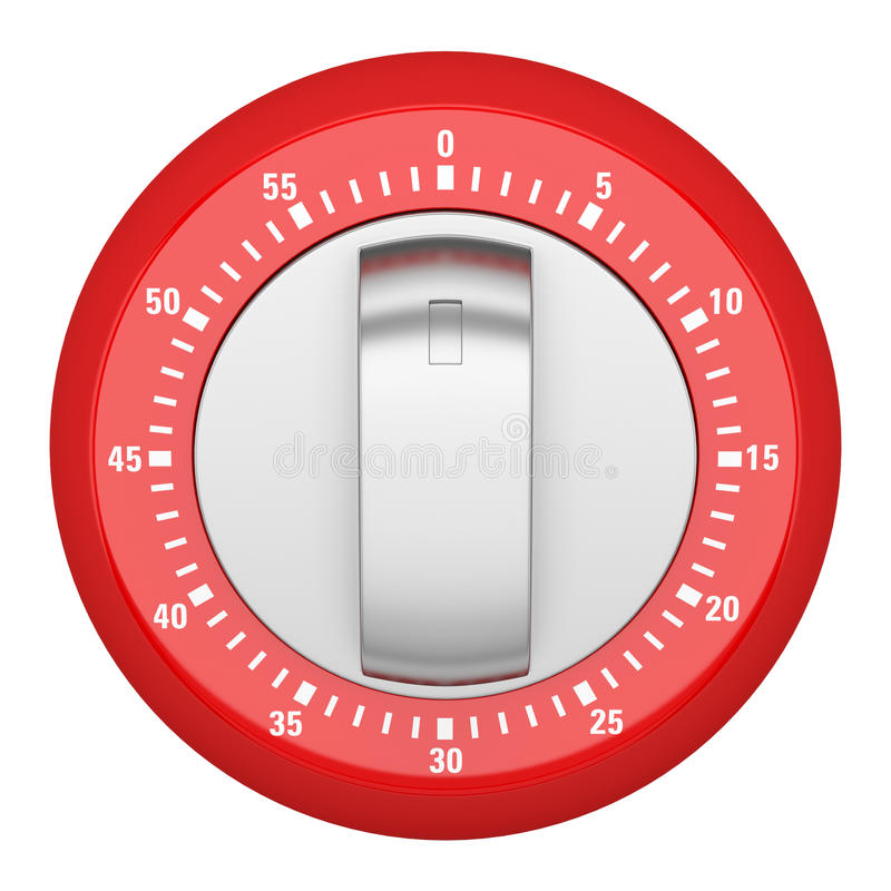 Top view of red modern kitchen timer isolated on white stock illustration