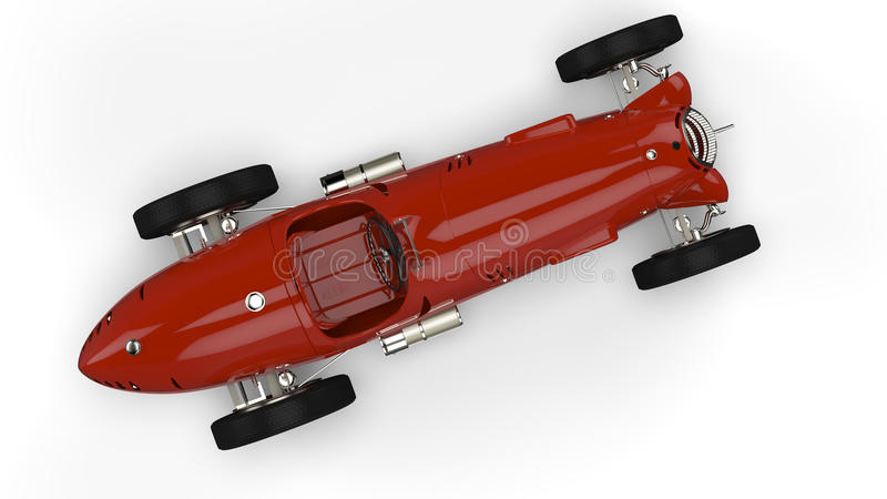 Top view of a red old race car stock illustration