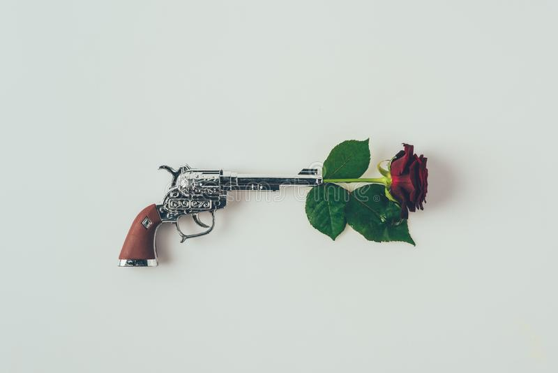 top view of red rose in gun barrel royalty free stock photos