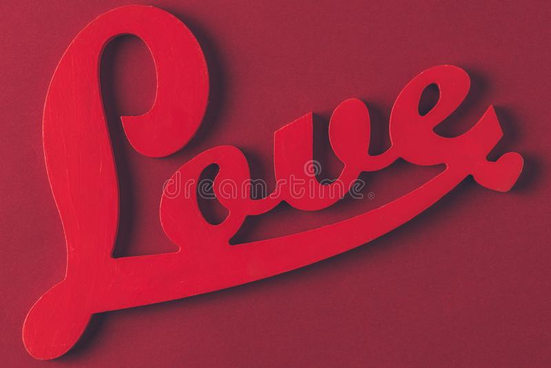 top view of red sign with word love royalty free stock photography