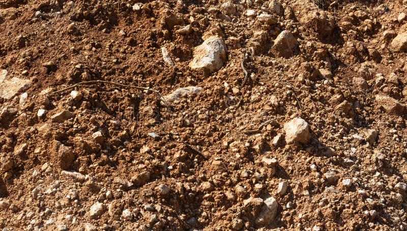 Top view of red soil earth background, mars seamless natural background royalty free stock image