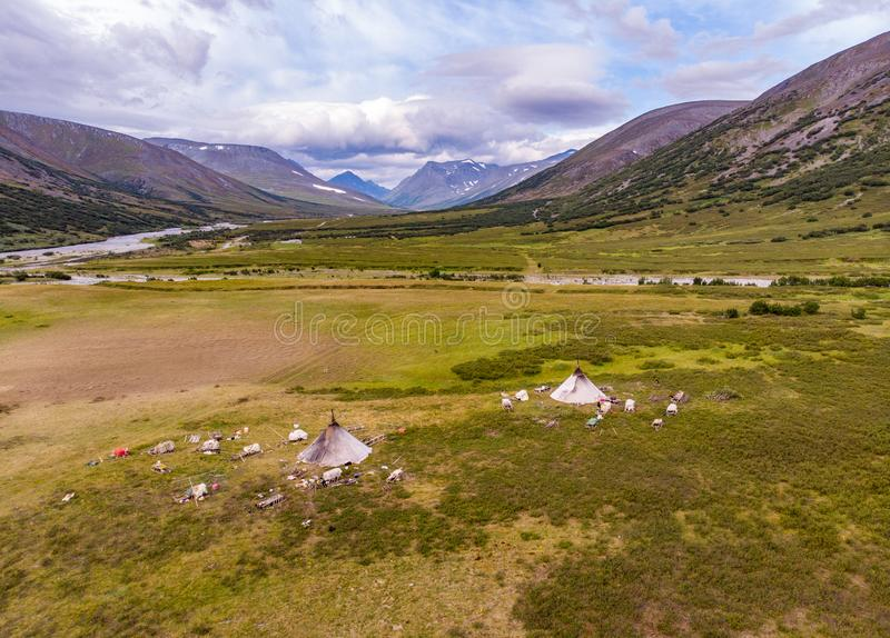 Top view of the reindeer herders camp, Yama. L, Russia stock images