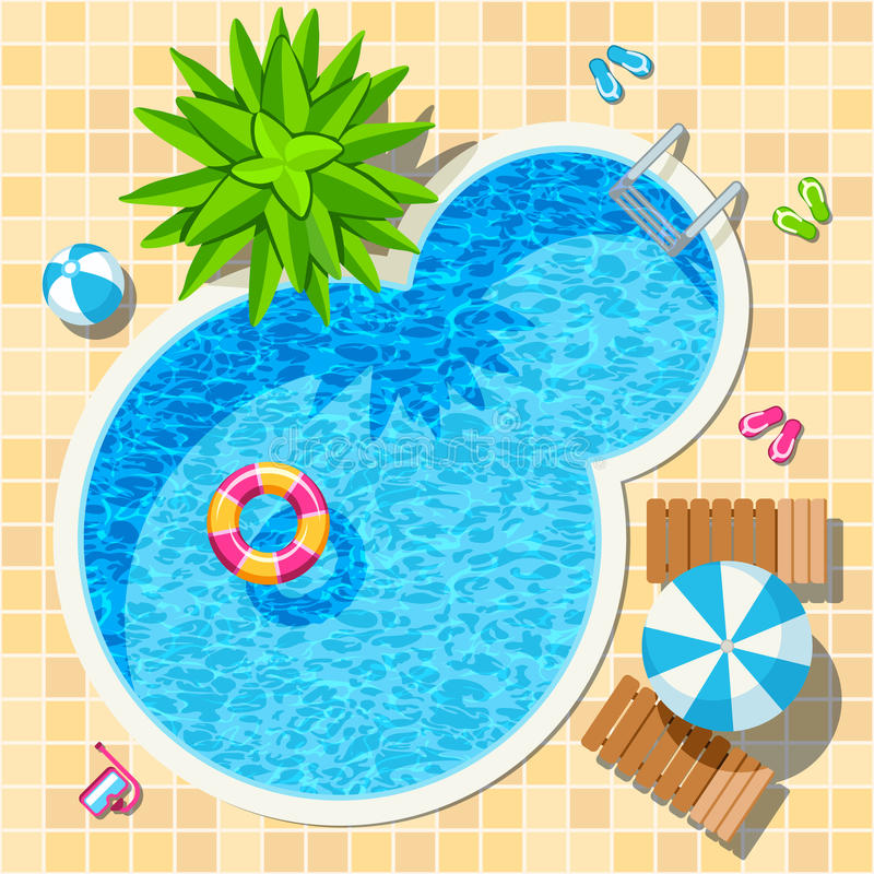 Free Top View Relax Swimming Pool Vector Royalty Free Stock Photography - 76497287