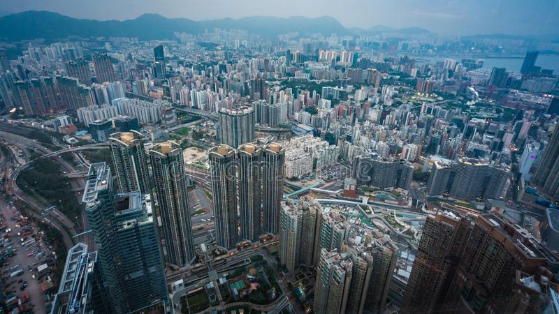 Top View Of Residential Building In Hong Kong stock photography