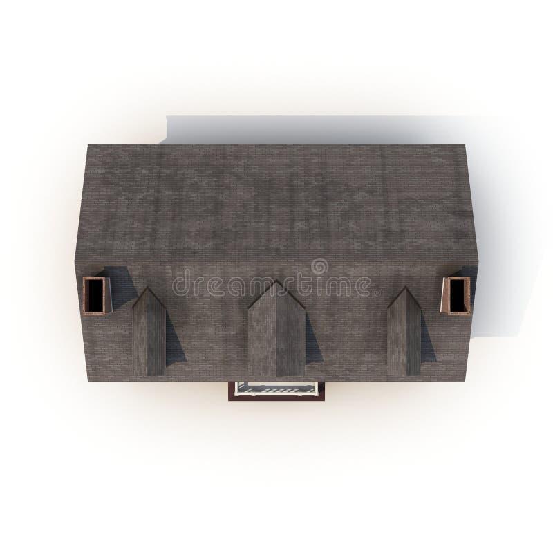Top view residential building house against white. 3D illustration stock illustration