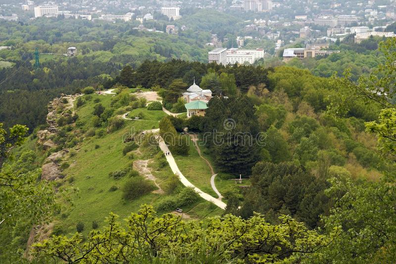 Top view of resort mountain Park and the city of Kislovodsk. Russia royalty free stock photos