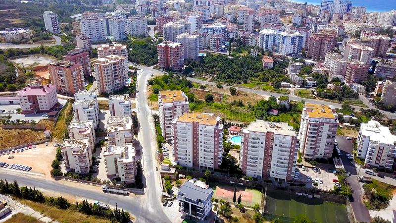 Top view of resort town with hotels and apartment buildings. Clip. Beautiful multi-storey houses with beautiful exterior stock photo