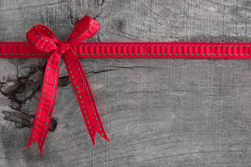 Top view of ribbon decoration on wooden background for christmas royalty free stock images