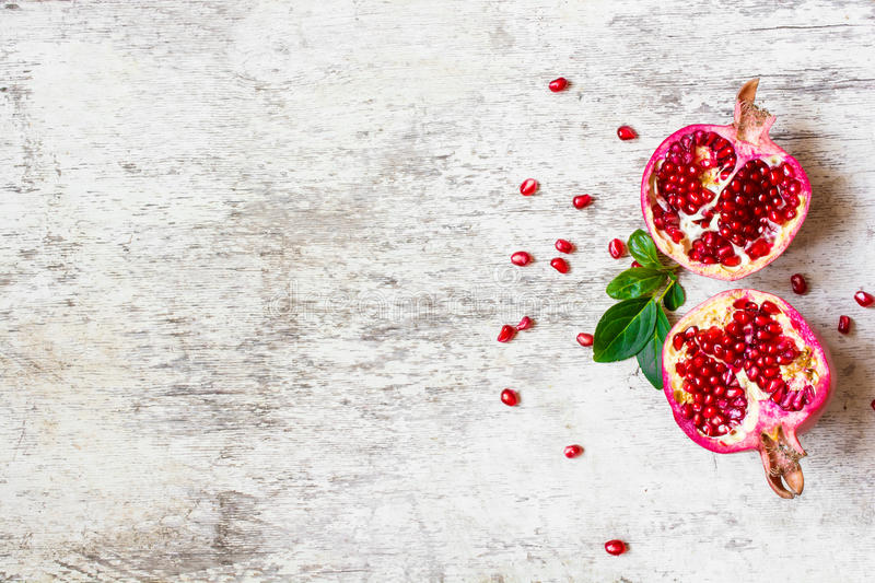 Top view of ripe pomegranate stock image