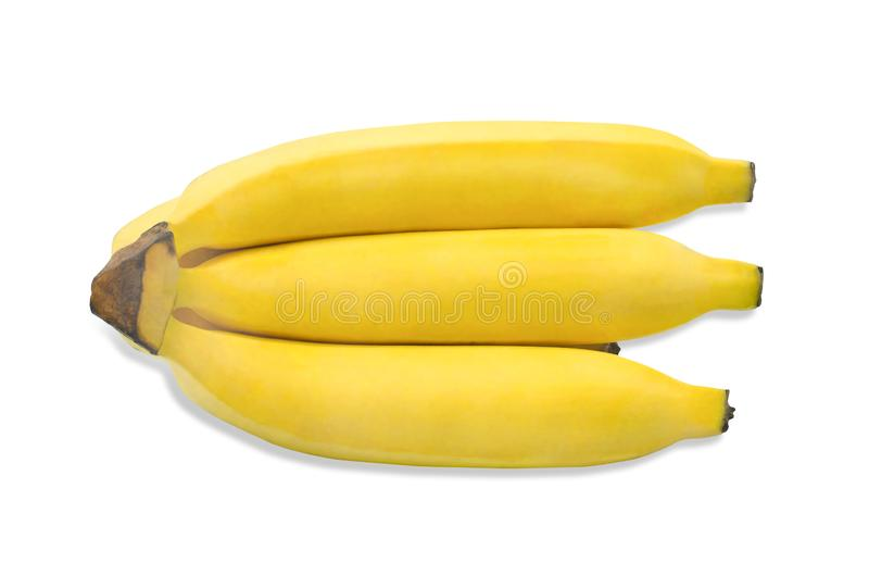 Top view, Ripe yellow Bunch of bananas isolated on white background. stock photos